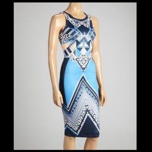 Jealous Tomato Blue Geometric Sleeveless Dress